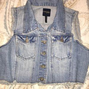 Frayed jean vest